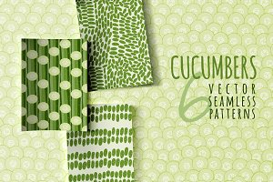Cucumbers, 6 seamless patterns