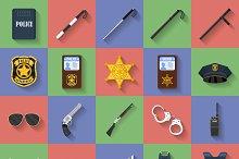 Set of 20 Flat icons. Police theme