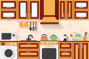 Kitchen with appliances and utensils