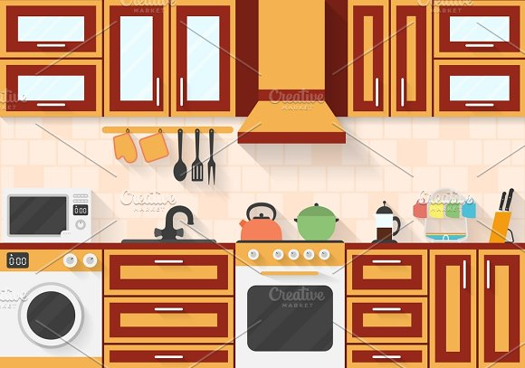 Kitchen With Appliances And Utensils Illustrations Creative Market