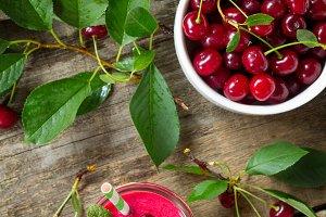 Cherry milkshake or smoothie on a da