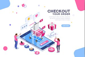 Online Order Concept Isometric