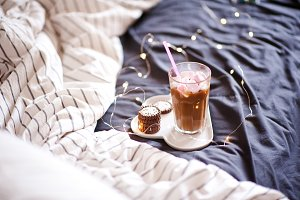 Fresh coffee in bed
