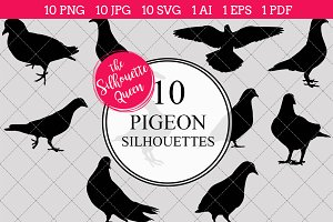 Pigeon Silhouette Vector Graphics