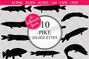 Pike Silhouette Vector Graphics