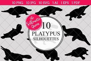 Platypus Silhouette Vector Graphics