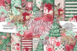 Christmas Doe digital papers
