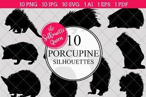Porcupine Silhouette Vector Graphics