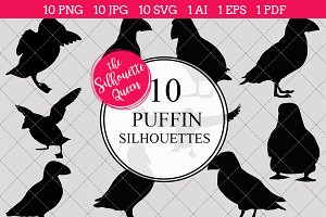 Puffin Silhouette Vector Graphics