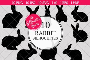 Rabbit Silhouette Vector Graphics