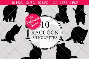 Raccoon Silhouette Vector Graphics