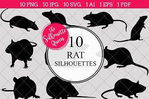 Rat Silhouette Vector Graphics