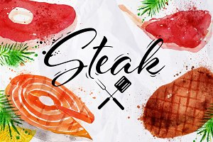 Set watercolor steak