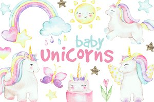 Watercolor clipart Baby Unicorns