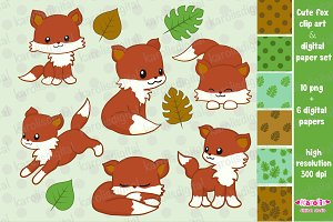 Cute fox clip art set