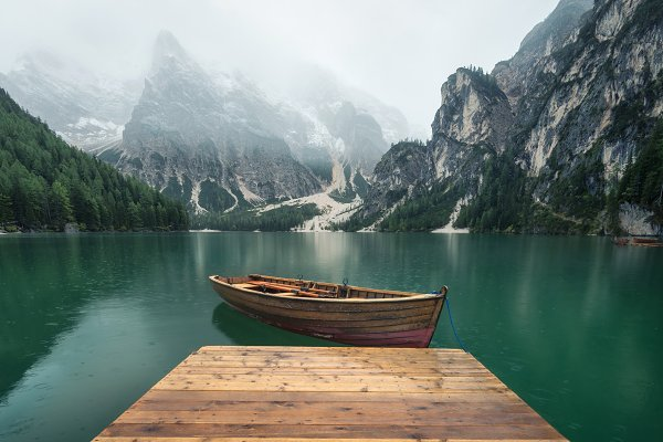 Nature Stock Photos - Mountains and lake in the Dolomites