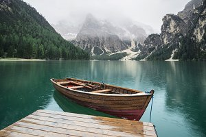 Mountains and lake in the Dolomites