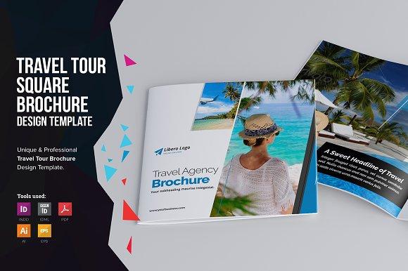 holiday travel square brochure brochure templates creative market