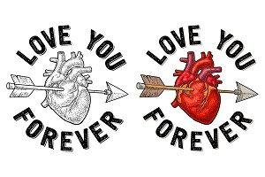 Arrow pierced the heart. Love you