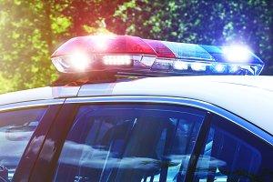 Police car with focus on siren light