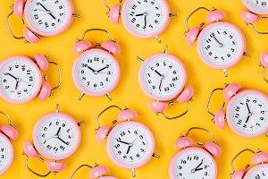 Pink alarm clocks pattern