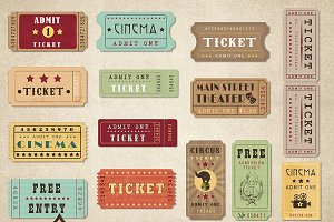 Retro Tickets Vector Clipart