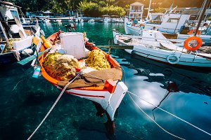 Colorful Greek fishing boats in