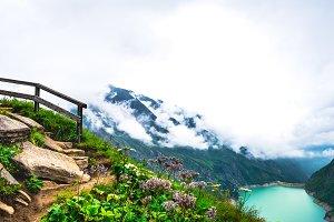 Pathway through high mountains