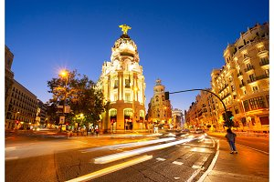 night in Madrid, Spain