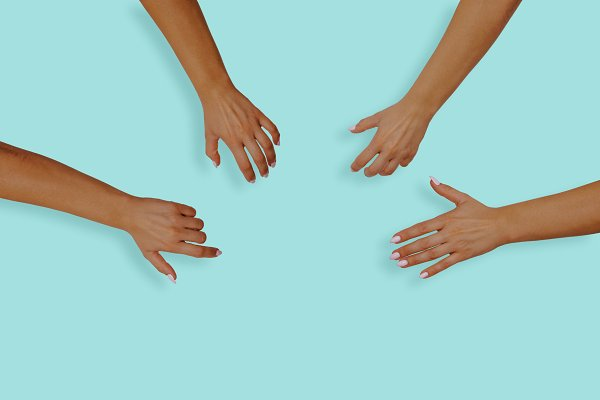 Top view of female hands with nails…