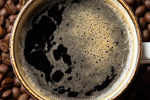 Close-up of a Cup of black coffee an