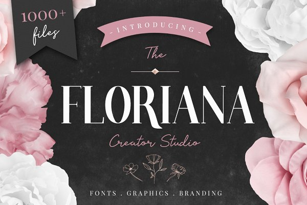 Floral Bundle Fonts & Illustrations