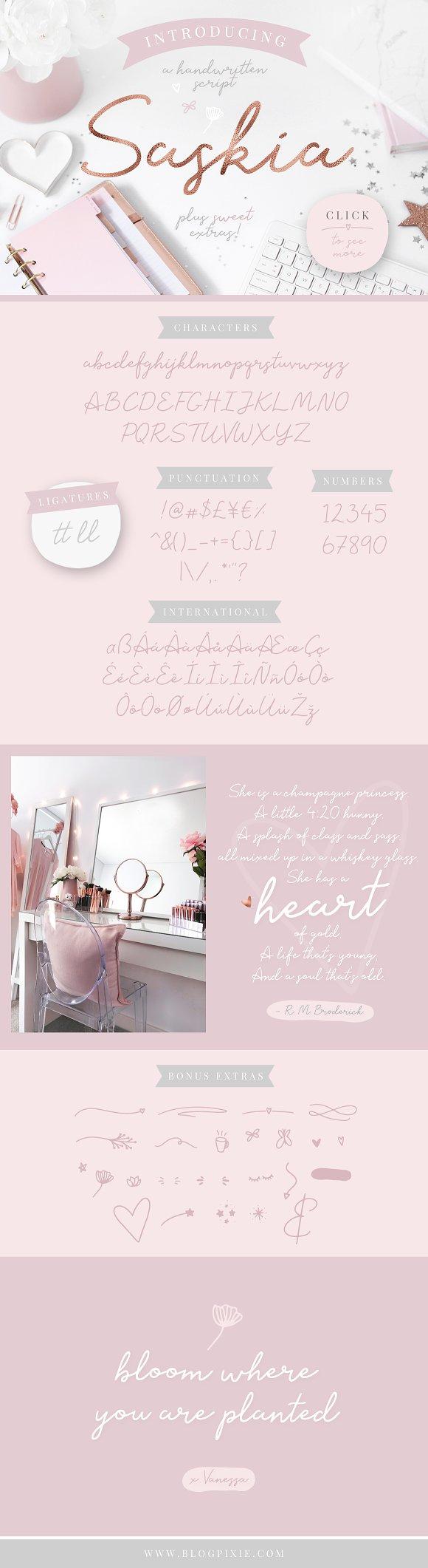 Floral bundle fonts illustrations script fonts creative market fandeluxe Choice Image