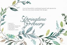 SPRINGTIME GREENERY SET  by  in Illustrations
