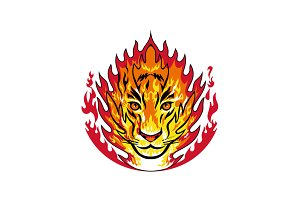 Flaming Tiger Head on Fire Mascot