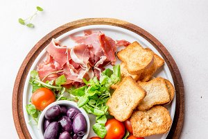 Antipasto Plate with dried bread