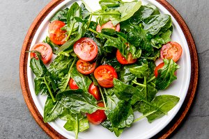 Fresh summer salad with baby spinach