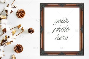 Cotton and Pinecones Frame Mockup