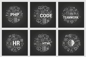 Html and teamwork - six square black