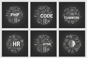 Html and teamwork - six square black