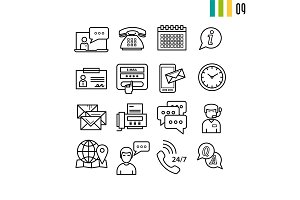 Outline online support icons