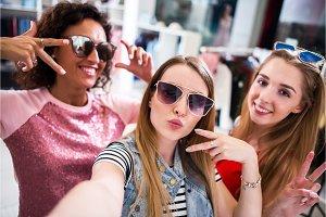 Pretty girls wearing sunglasses