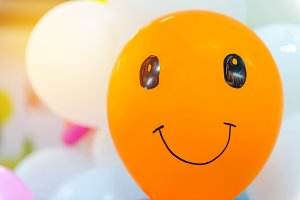 close up of balloon with smile face