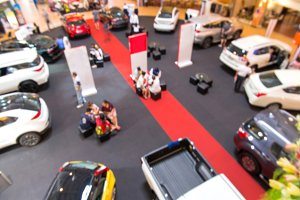 blur of car in show room