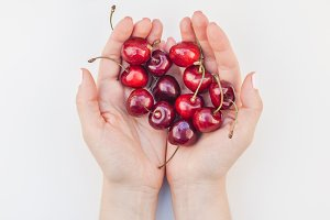 Fresh ripe cherry in a female hands