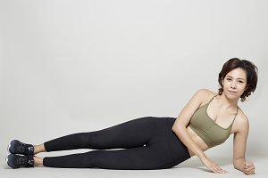 Stretching workout posture by a asia