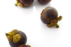 fruits mangosteen on white backgroun
