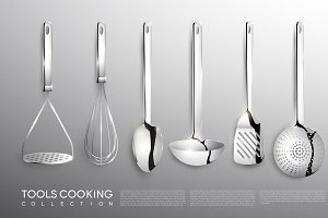 Realistic Kitchen Cooking Tools Set