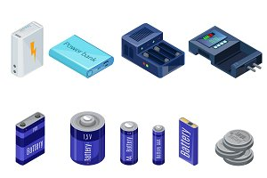 Isometric Chargers And Batteries Set