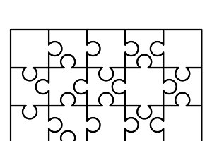 20 white puzzles pieces template